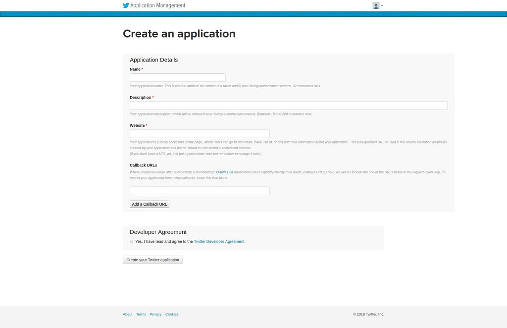 submit twitter app form