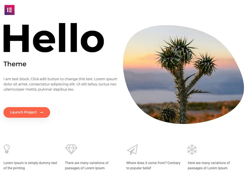 Hello theme best free theme for elementor
