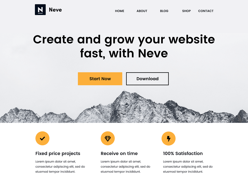 neve theme best free theme for elementor